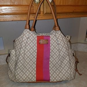 Kate Spade large tan duffle tote bag with strap